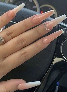 Coffin Nails Ombre, Bling Acrylic Nails, Acrylic Nails Coffin Short, Simple Acrylic Nails, Coffin Shape Nails, Best Acrylic Nails, Rhinestone Nails, Acrylic Nail Designs For Summer, Colored Acrylic Nails
