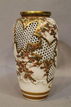 Japanese __A Japanese Satsuma vase with pierced decoration