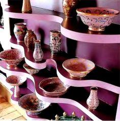 antique ceramics cabinet decor design