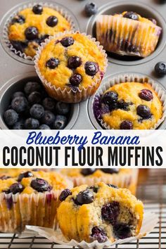 Moist and fluffy coconut flour muffins made with blueberry, banana, and naturally sweetened with maple syrup or honey! Healthy, easy to make, and SO DELICIOUS with Coconut Flour. Almond Flour Muffins, Healthy Blueberry Muffins, Coconut Muffins, Healthy Muffin Recipes, Blueberry Recipes, Banana Recipes, Blue Berry Muffins, Healthy Baking, Breakfast Recipes