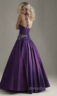 A-Line Satin Asymmetric Long Dress Charm86274
