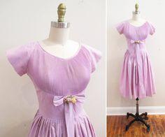 Vintage 1950s Dress   Pale Lavender Cotton 1950s Party Dress   size small - medium