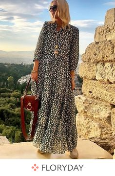 Shop Floryday for affordable Day Dresses Dresses. Floryday offers latest ladies' Day Dresses Dresses collections to fit every occasion. Spring Dresses, Women's Dresses, Dress Outfits, Dresses Online, Evening Dresses, Maxi Robes, Vestido Casual, Affordable Dresses, Long Sleeve Maxi