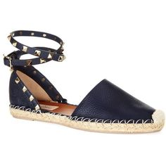 Valentino Rockstud Espadrille featuring polyvore, fashion, shoes, sandals, ankle strap sandals, leather espadrilles, ankle wrap sandals, wrap sandals and evening shoes