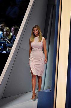 Ivanka Trump wearing Stuart Weitzman Nudist Sandals and Ivanka Trump Sheath Dress in Blush