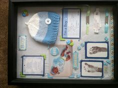 Baby boy shadow box! I used his baby blanket as the background, all the goodies from the hospital, the BOY sticker from my baby shower invites, scrapbooking embellishments. Love my baby boy! Now I have all his baby stuff to keep and look back on forever!