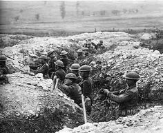 Fighting in a trench during ww1. Artfillery fire( resistance before an attack).