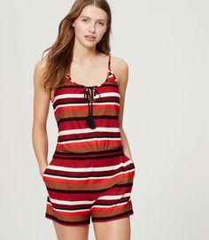Pin for Later: 31 Beach Cover-Ups That Aren't Your Average Caftan  LOFT Beach Striped Keyhole Romper ($60)