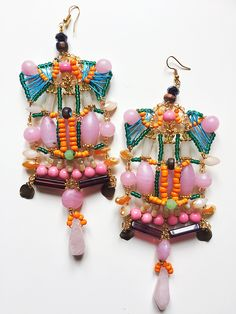 Rahma Earrings by Anita Quansah London Feather Jewelry, Bohemian Jewelry, Beaded Earrings, Beaded Jewelry, Jewelry Gifts, Handmade Jewelry, Couture, Bead Weaving, Statement Jewelry