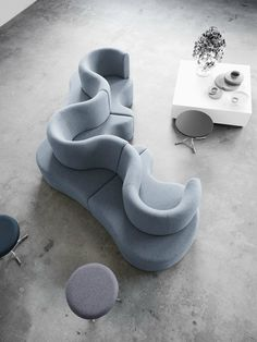 Sectional modular fabric CLOVERLEAF by Verpan