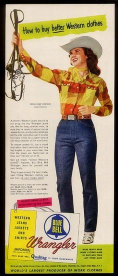1951 rodeo star Berva Dawn Sorensen photo Wrangler Blue Bell Jeans print ad