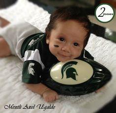 Michigan State University Spartan baby 2 months Mextli Axel diy baby photo shoot ideas for spartan love baby spartan @msuathletics @shopmsu