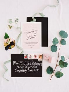 Black and blush wedding invitation paper suite: http://www.stylemepretty.com/2016/08/05/a-mega-chic-black-tie-wedding-in-a-barn/ Photography: Becca Lea - http://beccalea.com/ #sponsored