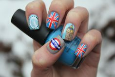 Bright Lights, Big City- LONDON nails SO wanna do the flag on my ring finger for my Senior Trip!!  I won't look like a tourist at all.....