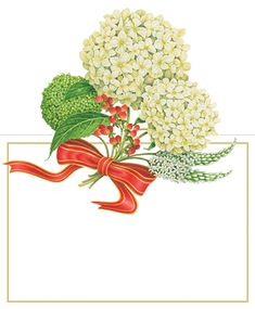 Caspari Snowball Hydrangeas Christmas Floral Designer Printed Die-Cut Place Cards Wholesale 86929P