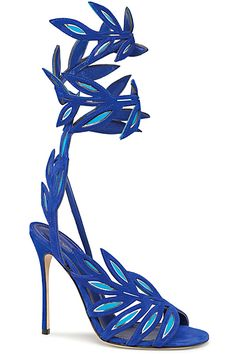Sergio Rossi Cobalt Blue Ankle Wrap Leafe Sandal Spring Summer 2014 #Shoes #Heels