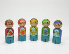 Super Heroes, wooden peg doll, painted peg people, wooden kids toy, handmade toy, super hero play, Spring kids