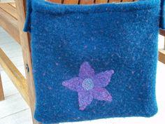 Blue... Felted Wool Purse Blue & Purple Handmade