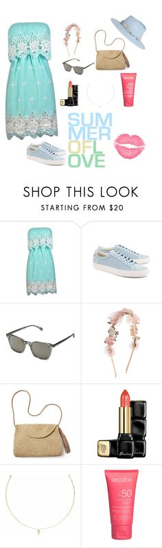 """Summer...."" by asma-luthfy ❤ liked on Polyvore featuring Common Projects, Oliver Peoples, Monsoon, Mar y Sol, Guerlain, Agnes de Verneuil, Maison Michel and Summer"