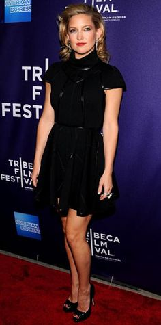 Look of the Day › April 28, 2010 WHAT SHE WORE Hudson chose a sexy wool and leather Louis Vuitton dress, Brian Atwood heels and Cartier diamonds for the Tribeca Film Festival premiere of The Killer Inside Me