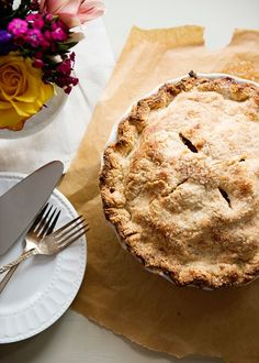 The Best Apple Pie recipe from King Arthur Flour. Golden Delicious and Honeycrisp apples with cinnamon, allspice, nutmeg, cider, and a touch of rum. Served with bourbon and vanilla bean caramel sauce.