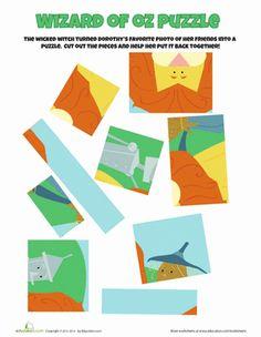 Preschool Puzzles & Sudoku Worksheets: Wizard of Oz Puzzle Worksheet