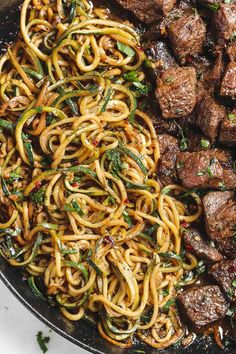Garlic butter Steak Bites with Lemon Zucchini Noodles - So much flavor and so easy to throw together!