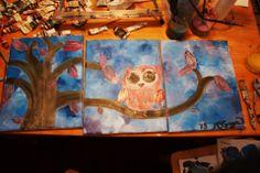 Owl on Limb Nursery Decor Custom Painting