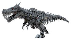 https://flic.kr/p/GxFYL4 | Lego Grimlock | Lego Grimlock, the leader of the Dinobots from the film Transformers 4 - Age of Extinction.  I'm very happy to show you this model finished, sorry for waiting.  This is a big model (4410 parts), the maximum length is almost 1 m. For this reason the internal structure is made with technic parts to keep the body lightweight and strong. Also there are gears and mechanisms that allow a wide range of movements, from the head to the tail. It was totally…