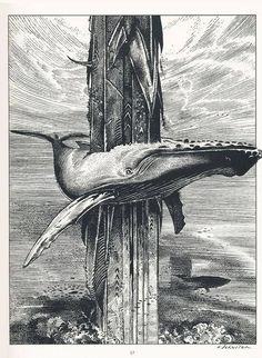"Francois Schuiten ~ for ""A Ma Mer"" Gravure Illustration, Illustration Art, Poster Drawing, Whale Art, Ink Pen Drawings, Black And White Illustration, Pen Art, Illustrations And Posters, Traditional Art"