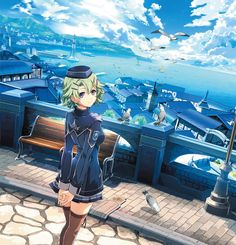 View an image titled 'The Azure Port City Art' in our The Legend of Heroes: Trails of Cold Steel III art gallery featuring official character designs, concept art, and promo pictures. Trails Of Cold Steel, Realm Reborn, The Legend Of Heroes, Epic Art, Anime Art Girl, Anime Girls, Fantasy Landscape, City Art, Game Art
