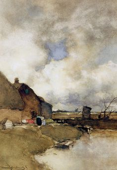 Farm near Noorden by Johan Hendrik Weissenbruch on Curiator, the world's biggest collaborative art collection. Watercolor Landscape, Landscape Art, Landscape Paintings, Watercolor Art, Classic Paintings, Paintings I Love, Dutch Painters, Dutch Artists, A4 Poster