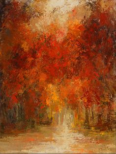 Sunny Autumn Canvas Wall Art - Rich, Red, Orange, and Yellow Colors Reminiscent of a Beautiful Fall Day.