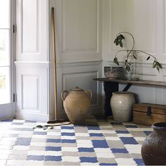 Decorative tiles in playful patterns are featuring on floors this season