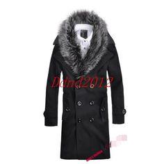 Mens winter fur collar long woolen jacket trench coat outwear Parka overcoat