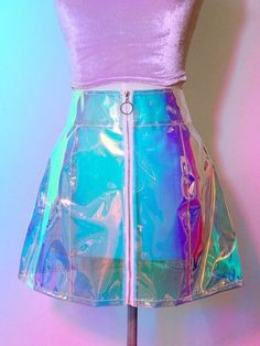 Holographic transparent skirt with a zipper in the front for functional used Rave Outfits, Cool Outfits, Fashion Outfits, Womens Fashion, Pastel Fashion, Kawaii Fashion, Electro Festival Outfit, Holographic Fashion, Holographic Dress