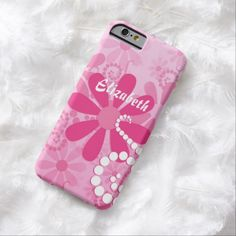 A cute and girly pink and white floral slim #iPhone6case for a teen girl with pink retro daisies and white circle swirls. This pretty flowers design can be personalized by adding the name of any girlie girl.