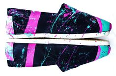 The Millie  Fuscia and Teal Neon Splatter Paint by FruitfulFeet, $125.00
