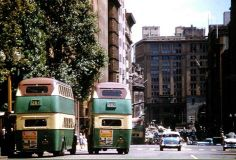 Double decker buses on Martin Place before it became a pedestrian plaza. looking west. Dated 1960