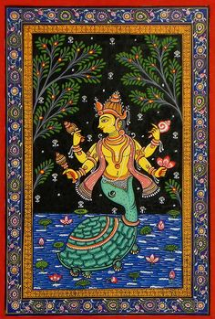 Kurma Avatar - Second Incarnation of Lord Vishnu (Orissa Pattachitra Painting on Patti - Unframed) Indian Traditional Paintings, Indian Art Paintings, Traditional Art, Art Painting Gallery, Dot Art Painting, Madhubani Art, Madhubani Painting, Phad Painting, Kalamkari Painting