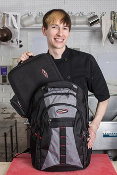 Our combination backpacks and messenger bag come equipped with a customized knife case portfolio that fits firmly in the back pocket and can hold up to 13 knives or garnishing tools.
