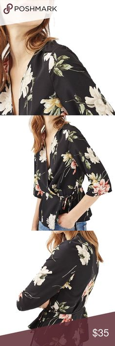 "Floral Wrap Top v-neck, 3/4 length sleeve, bow tie wrap front design, vibrant print, cotton/polyester blend  🐇RESERVE out of stock sizes by purchasing any ""arriving🔜"" option & it will automatically ship to you when its restocked. 🐢If you choose not to reserve, please be patient, priority stock goes to reserves first, then what is left will reflect in my closet Tops"