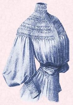 Picture of high necked, smocked and shirred blouse. Edwardian fashion history and costume history. -- Wear it over jeans?