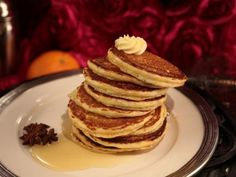 Cornmeal Pancakes with Whipped Butter and Zesty Orange-Infused Maple Syrup