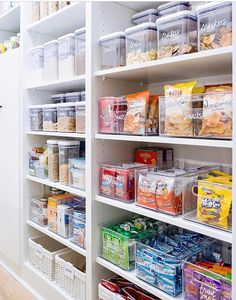 i LOVE those clear buckets they put snacks in! pantry organization goals! Bathroom Medicine Cabinet, Closet, Dining, Pantry, Home Decor, Homemade Home Decor, Food, Cabinet, Walk In Pantry