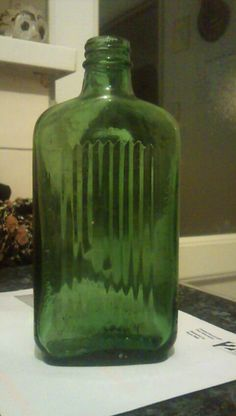 vintage green glass Poison bottle 2lazy2boot - Cardiff car boot fairs - 19760