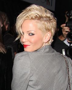 Love the side length.  Undercut but not shaved.  Sarah Harding