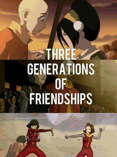 Legend of Korra/Avatar: the last airbender. Three Generations of friendship Avatar Aang, Avatar Airbender, Team Avatar, Avatar Series, Korrasami, Fire Nation, Fandoms, Zuko, Legend Of Korra