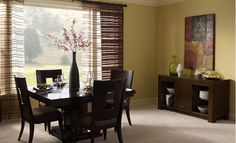 {Dark Dining Room Furniture near a Big Picture Window}