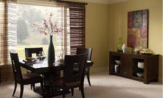 {Dark Dining Room Furniture near a Big Picture Window}